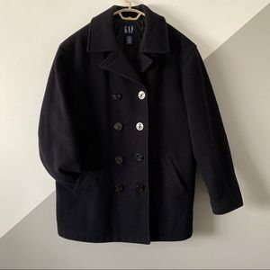 GAP L Double Breasted Pea Coat Thick Wool Quilted